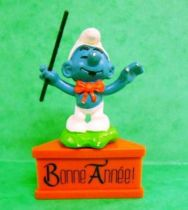 The Smurfs - Schleich - Bandleader Smurf  \'\'Happy New Year!\'\' (red base)