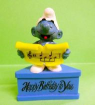 The Smurfs - Schleich - Singer Smurf  \'\'Happy Birthday to You\'\' (blue base)