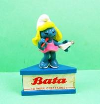 Les Schtroumpfs - Schleich - Schtroumpfette Secrétaire Publicitaire BATA (socle bleu) 01