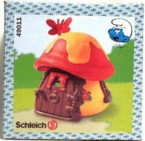 The Smurfs - Schleich 49011 Smurf Mint in New Look Box little house with red and yellow roof