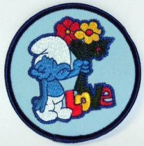 The Smurfs - Vintage fabrics patche - Smurf with flowers