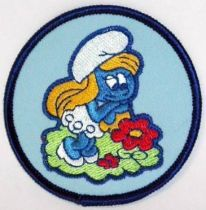 The Smurfs - Vintage fabrics patche - Smurfette with flowers