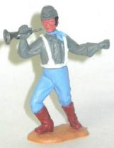 Timpo Confederate 2sd séries (1 piece head) footed right arm up & bent (bugle) (black hairs) advancing legs