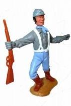 Timpo Confederate 2sd séries (1 pieces head) footed both arms outstreched  (winchester) (black hairs) advancing legs
