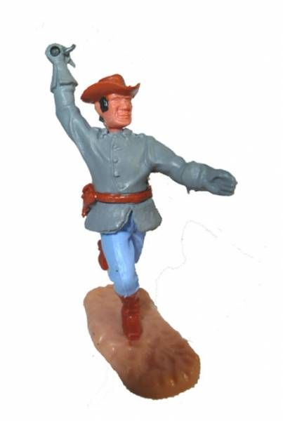 Timpo Confederate 2sd séries (1 pieces head) footed officer right arm raised (sabre) (black hairs brown hat) running legs