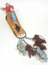 Timpo Eskimos accessory Dog Sled (tan) & Team (red, black legs,brown wheep) (ref 1028)