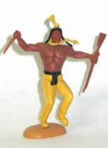 Timpo Indians 2nd series (moulded weapon) footed with knife & rifle yellow dancing legs yellow feather