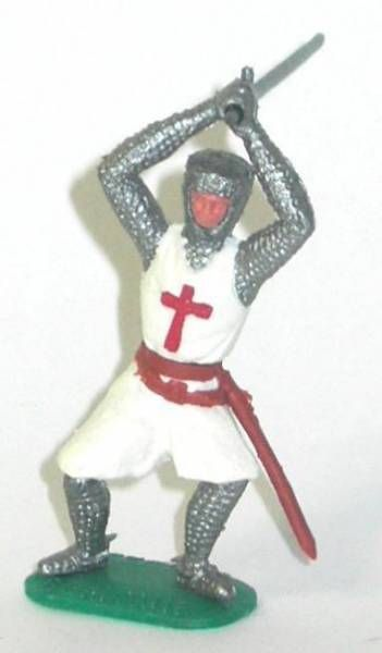 Timpo Middle-Age Crusader 1st serie footed  with both arms above head bent legs
