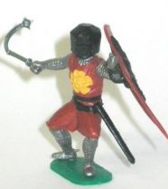 Timpo Middle-Age Medieval Knights footed brown and dark helmet shield up (mace) bent legs