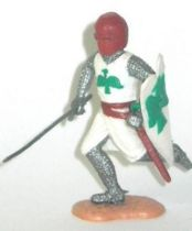 Timpo Middle-Age Medieval Knights footed white and red helmet both arms down (sword) running legs
