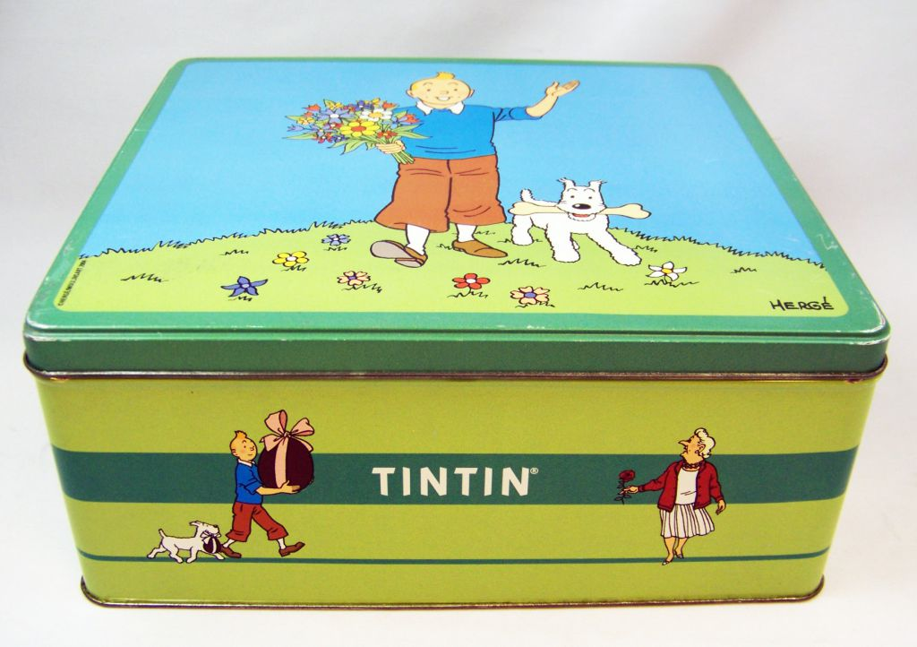 Tintin - Boite à gâteaux carrée Delacre - Tintin et Milou au Printemps #1