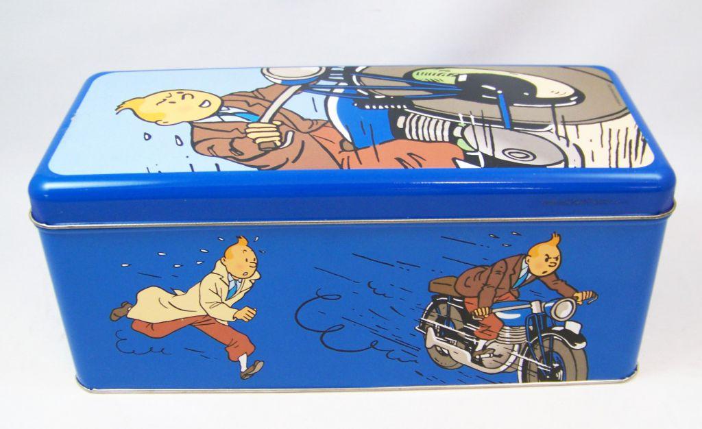 Tintin - Boite à gâteaux rectangulaire Delacre - Tintin en moto