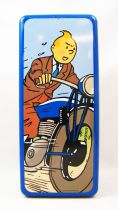 Tintin - Delacre Tin Cookie Box (Rectangular) - Tintin on motorcycle
