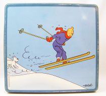 Tintin - Delacre Tin Cookie Box (Square) - Tintin and Winter Sports
