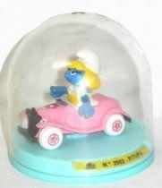 Voiture m�tal Guisval (R�f 2002) Tacot cabriolet rose de la Schtroumpfette neuf en boite