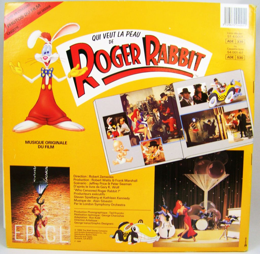 Who Framed Roger Rabbit Story Book Record Lp Buena