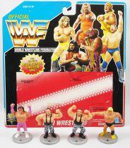 WWF Hasbro - Mini Wrestlers : Brutus Beefcake, Greg Valentine, Bushwhackers Luke & Butch (loose with USA cardback)