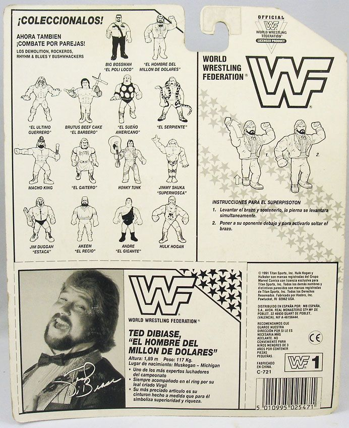 wwf hasbro the million dollar man ted dibiase v 2 carte espagne ebay. Black Bedroom Furniture Sets. Home Design Ideas