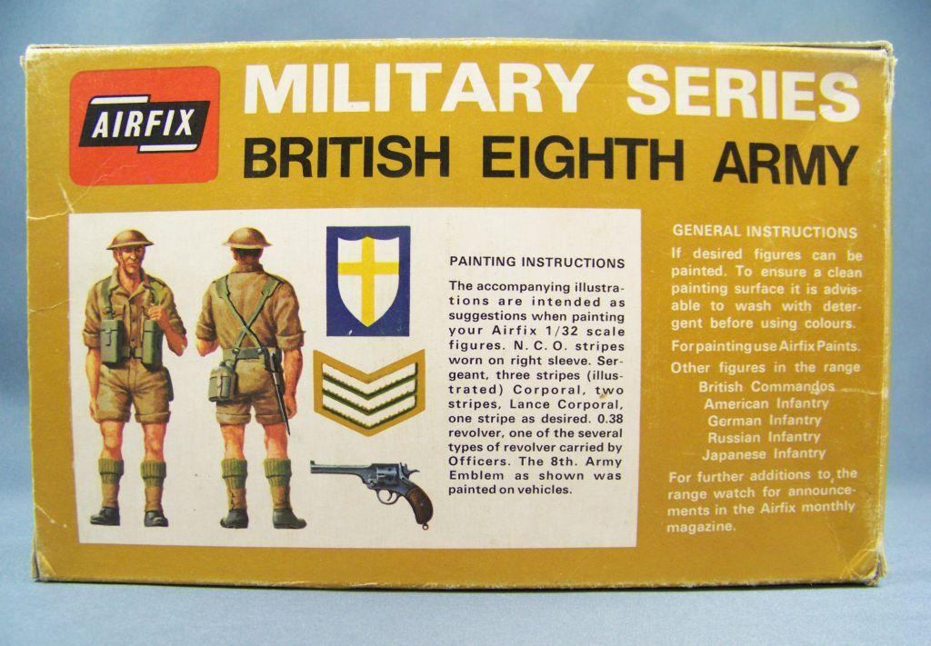 Airfix 1805-1 32° Ww2 Anglais 8ème Armée (boite Marron 1972) Complète 29 Pièces