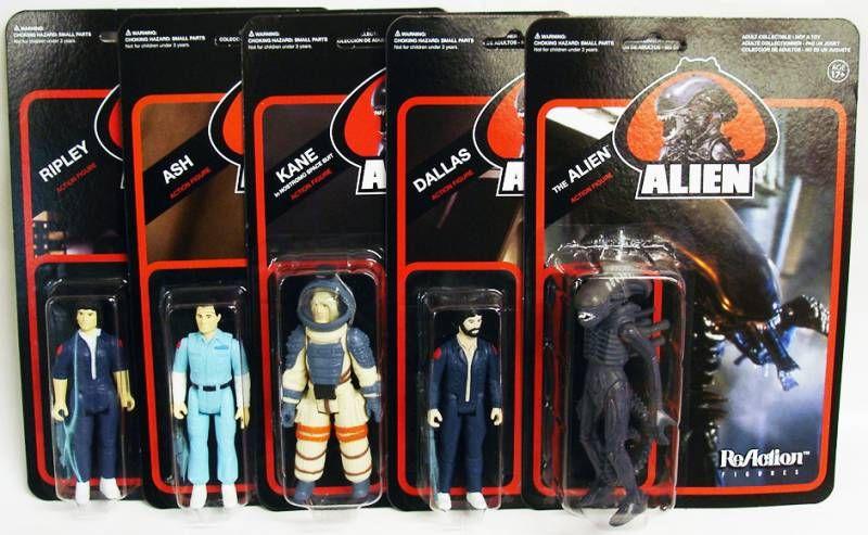 Alien - ReAction - Set de 5 action figures : Ripley, Kane, Ash, Dallas, The Alien