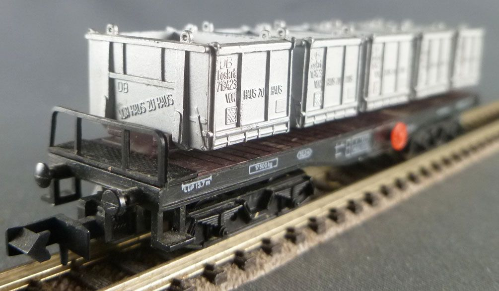Arnold 4955 N Scale Db Heavy Loaded Flat Wagon SSkms Type