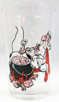 Asterix - Amora Mustard glass 1968 - Panoramix prepares the potion (red version)