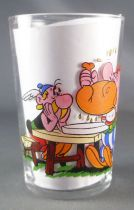 Asterix - Amora Mustard glass with © série - Asterix at table & Obelix eating wild boar