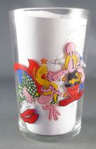 Asterix - Amora Mustard glass with © series - Asterix knocks out Assurancetourix