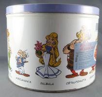 Asterix - Boite à gâteaux ronde Delacre - Asterix & Obelix rigolent + Galerie des Personnages