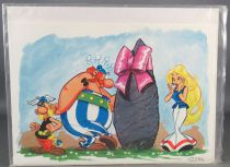 Asterix - Carte Dargaud Exclusive Noel 1976 & Enveloppe - Astérix Obelix & Falbala