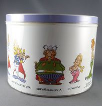 Asterix - Delacre Tin Cookie Box (Rond) - Asterix & Obelix laughing + Main Characters Gallery