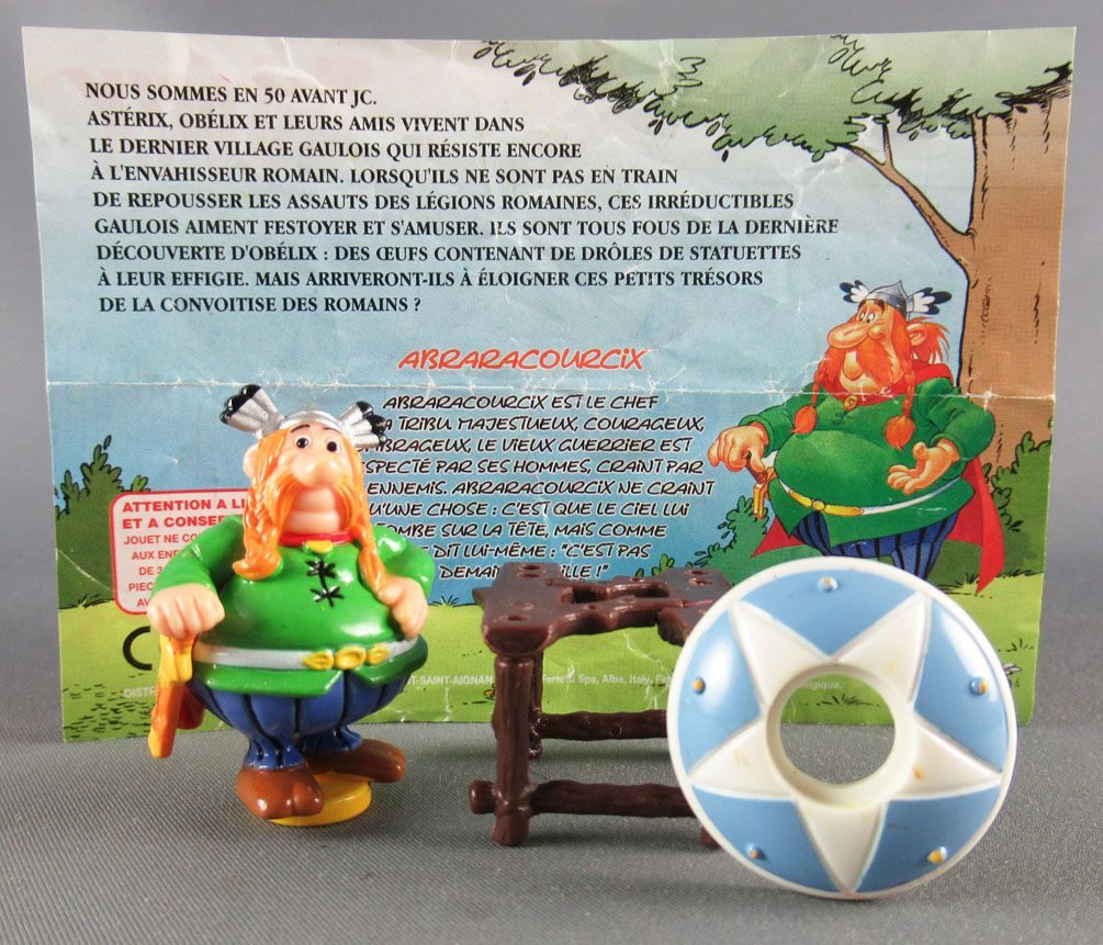 Asterix - Kinder Suprise Ferrero 2003 - Majestix Figure + Metal Mini Lunchbox + Flyer
