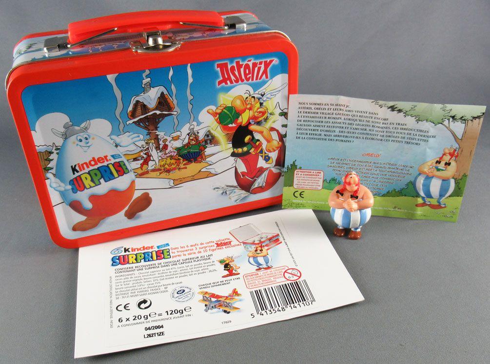 Asterix - Kinder Suprise Ferrero 2003 - Obelix Figure + Metal Mini Lunchbox + Flyer