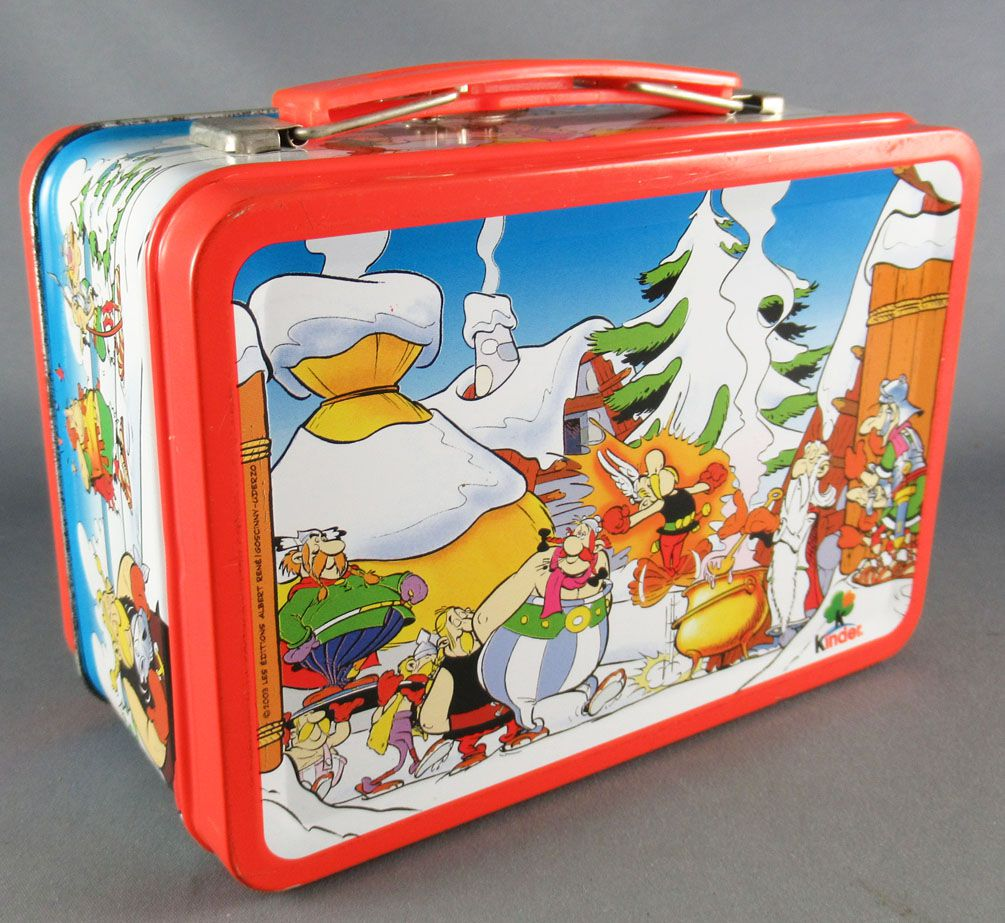 Asterix - Kinder Suprise Ferrero 2003 - Roman with Sword Figure + Metal Mini Lunchbox + Flyer