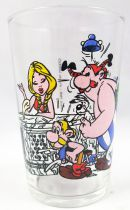 Asterix - Mustard glass Amora 1968 - Asterix & Obelix at the front desk