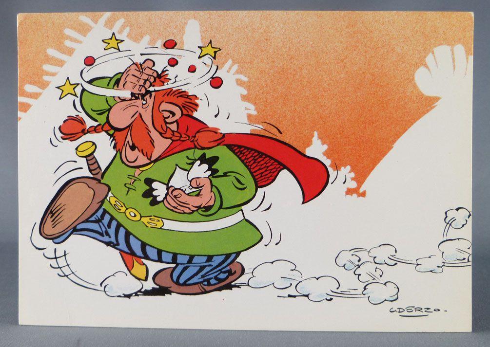 Asterix - Postal Card 1984 Franceco Albert René Goscinny Uderzo - Le ciel m\'est Tombé sur la tête!