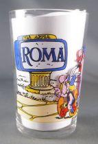 Asterix - Verre Amora Série avec © - Asterix & Obelix devant panneau Roma