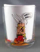 Asterix - Verre Nutella 1995  - Astérix Obelix rigolant & un romain ko