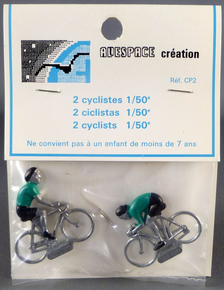 Avespace - 2 Metal cyclists Green Jersey Mint in Bag