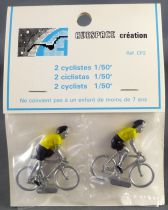 Avespace - 2 Metal cyclists Yellow Jersey Mint in Bag