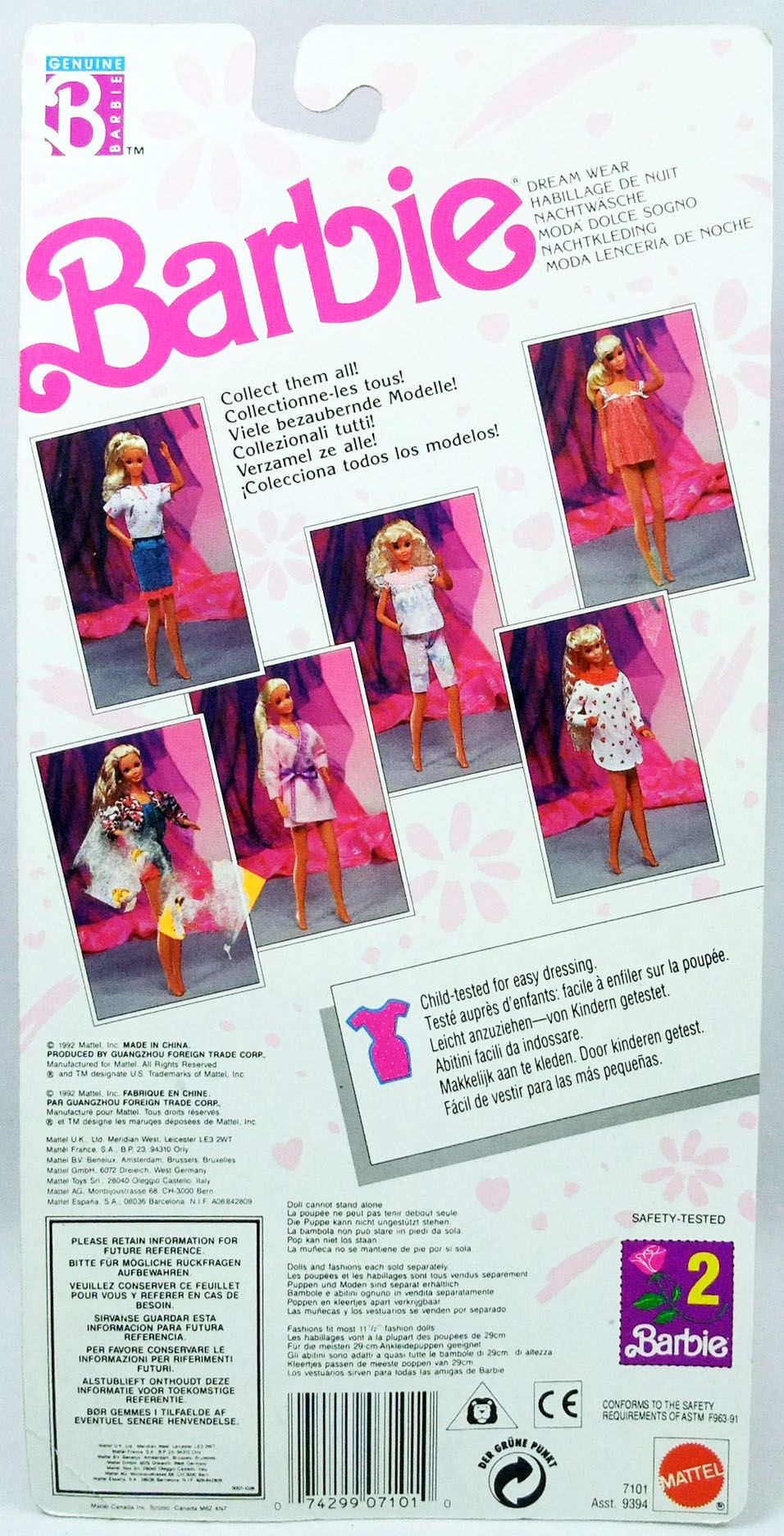 Barbie - Habillage de Nuit - Mattel 1992 (ref.7101)