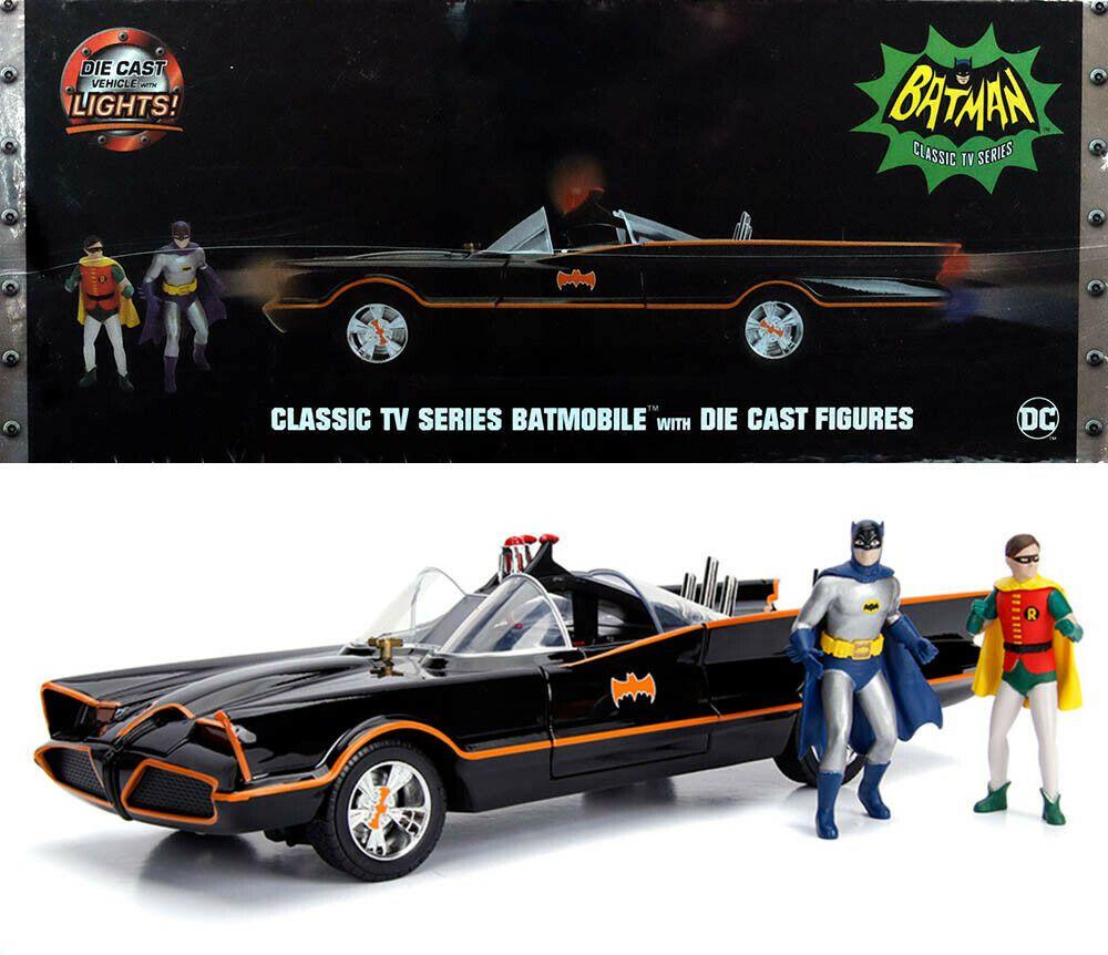 Batmobil Classic TV Serie mit LED Licht und 2 Figuren Batman und Robin 1//18 Jada