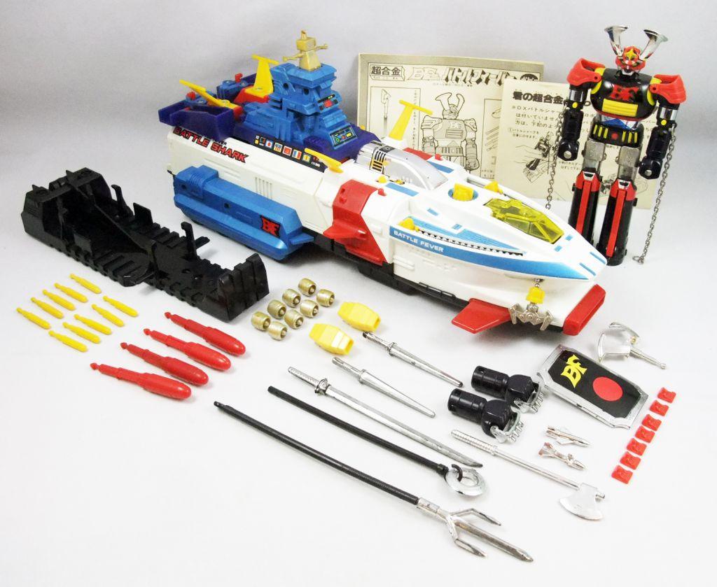 Battle Fever J - Battle Fever Robot & Battle Shark DX - Robot Métal & Véhicule - Popy Japon