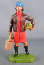 Britains - The Farm - Farm Woman with Bucket & Basket Red & Brown