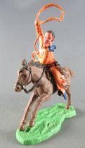 Britains Hong Kong - Cowboy - Cavalier lasso orange cheval brun galop long