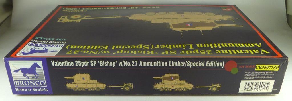 Bronco Models CB35077SP WW2 British Valentine 25pdr SP Bishop w/N°27 Ammunition Limber Special Edition 1/35