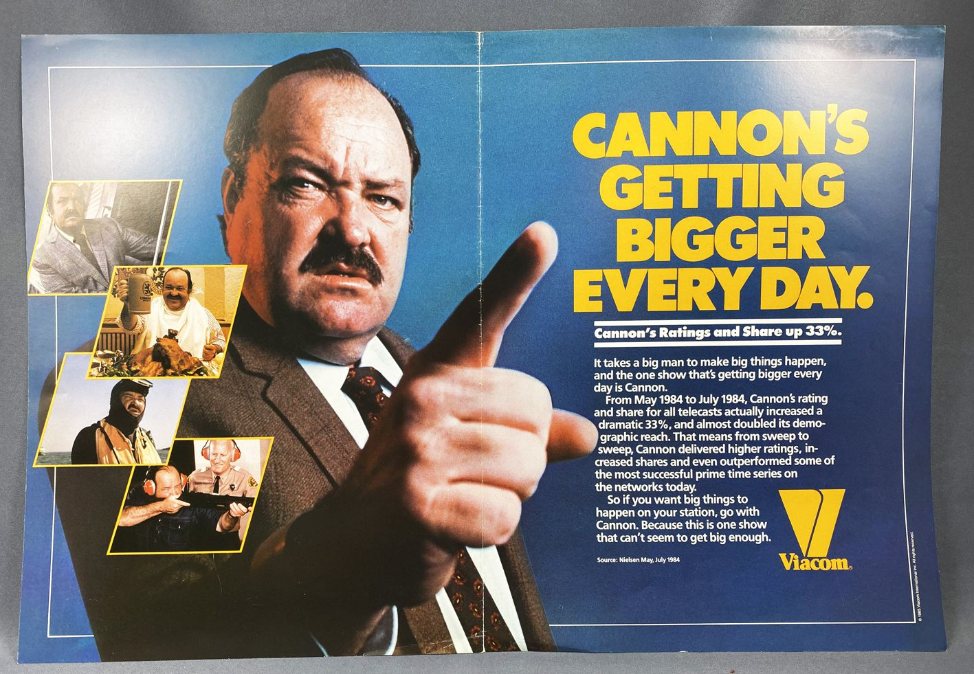 """Cannon (William Conrad) - Viacom (1985) - Affiche Promo \""""Cannon\'s getting bigger every day\"""""""