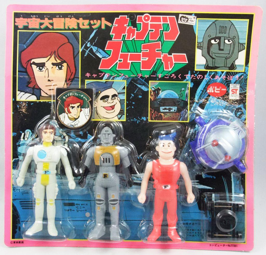 Capitaine Flam - Pack de 4 figurines vinyles Popy : Flam, Grag, Mala et le Pr. Simon