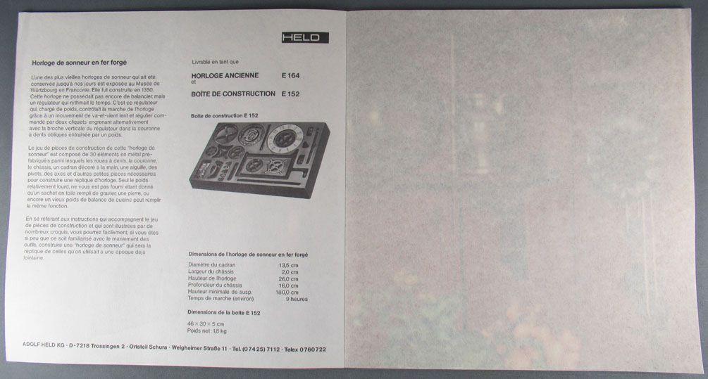 Catalogue Adolf Held Kg - Boites Construction Horloges Pendules Moulin à Vent Lanternes