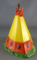 Clairet - far west - indien - accessoires - tente 2ème modèle jaune bouton d\'or & rouge